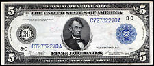 FR. 855a 1914 $5 FRN FEDERAL RESERVE NOTE PHILADELPHIA, PA ABOUT UNCIRCULATED