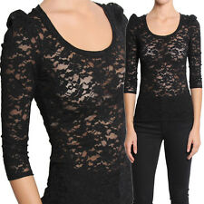 TheMogan Puffed 3/4 Sleeve Scoop Neck Lace Fitted Sheer Top