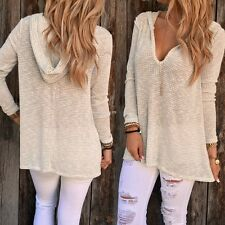Fashion Women Casual Long Sleeve Hooded Solid Pullover Loose Sweater Knitwear