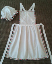 GIRLS APRON AND MOP CAP vintage lace trim fancy dress costume victorian tudor RG