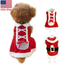 Christmas Pet Cat Dog Santa Cosplay Coat Dress Xmas Puppy Costume Clothes Outfit