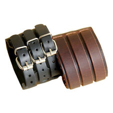 Men Fashion Belt Faux Leather Bracelet 3 Buckles Wristband Cuff Bangle Ornate