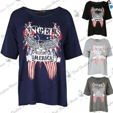 Womens Angels Of America Bald Eagle T Shirt Ladies Batwing Oversized Baggy Top