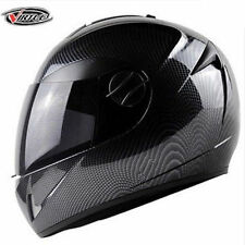 Carbon Fiber Skull DOT Motorcycle Street Full Face Dual Visor Helmet Black Bike