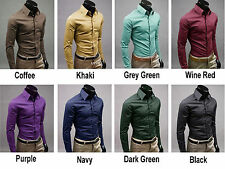 Men Casual Turn Down Collar Button Long-Sleeve Dress shirts Slim Fit Handsome