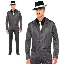 Pinstripe Gangster Costume Godfather Mafia Mens Fancy Dress 20s Outfit New