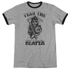 Sons Of Anarchy Fear The Reaper Mens Adult Heather Ringer Shirt Heather/Black