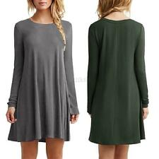Women Casual Long Sleeve Tunic Dress Crew Neck Loose Dress T Shirt Tops Blouses