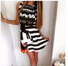 Black White Elegant Women Shirt Dress Top Tee Summer Short Sleeve Stripes Loose