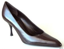 new $595 YSL Yves Saint Laurent dark brown leather pumps shoes - classic style