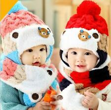 Baby cute bear winter hat and scarf set infant knit beanie bomber hats ear flaps