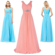 Deep V-Neck Chiffon Maxi Long Formal Evening Prom Party Dress Wedding Guest Gown