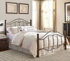 Full Queen King Bed Wood Poster Bed Bedroom Furniture Beds Iron Steel Frame NEW