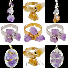 Natural Amethyst Citrine Geode Gemstones Freeform Pendant Ring Necklace Beads