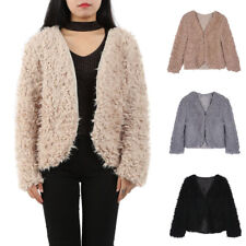 Women Winter Fluffy Shaggy Faux Fur Coat Lady Warm Cardigan Jacket Outwear Tops