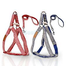 Stripes Pet Dog Puppy Harness Leash Lead Walking Control Collar Vest Strap S M L