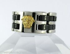 18k solid gold medusa head 316L stainless steel Link Chain Ring size 12.25