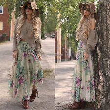 New Fashion Women Elastic Waist Casual Print Beach Long Maxi Pleated Skirt  WST