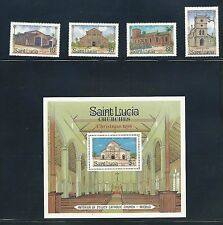 St. Lucia 867-71  MNH,  'Christmas/Churches' 1986 Set  .  SCV. $5.30