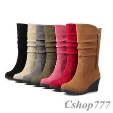 Womens Mid Calf Boots Faux Suede Fashion High Wedges New Slouch Casual Shoes