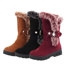 Womens Winter Warm Fur Snow Boots Lace Up Mid Calf Ankle Boots Shoes