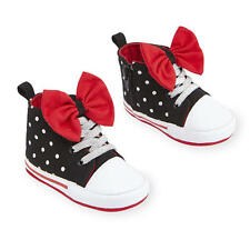 Disney Baby Toddler Girl Black Polka Dot Bow High Top Soft Sole Sneakers Shoes