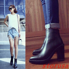 Women Lady Leather Ankle Boots Pointy Toe Side Zipper Boots Shoes Leather Boots