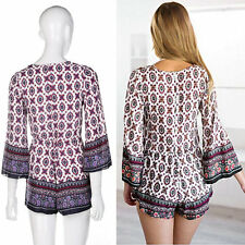 EU Style New Fashion Sexy V-neck One Piece Pants Jumpsuit Trumpet Sleeves O7