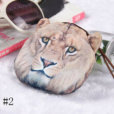 Hot Tiger Leopard Lion Face Zipper Case Coin Purse Wallet Makeup Bag Cool