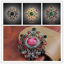 Fashion Womens Vintage Jewelry Flower Diamante Gold Plated Rhinestone Brooch Pin