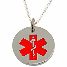 Medical Alert ID Pendant & Italian 925 Silver Plated Chain Necklace & ENGRAVING