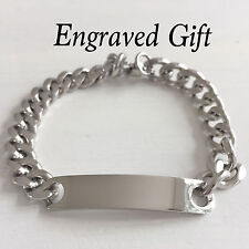 Personalised Silver Stainless Steel ID Curb Link Bracelet with FREE ENGRAVING