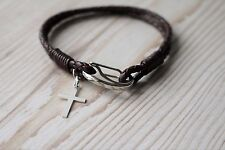 Men's Leather Bracelet - 925 Silver Cross - FREE GIFT BAG