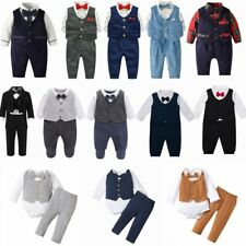 Baby Boy Formal Party Wedding Tuxedo Waistcoat Outfit Suit Romper Boys SZ 0-24 M