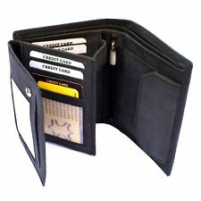 Mens Real Genuine Soft Leather Wallet Black Luxury Credit Card Holder Bifold ID