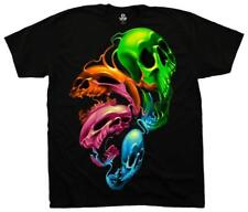 Liquid Neon Skulls T-Shirt Black Shirt Tee New