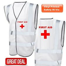 FIRST AID PRINTED HI VIS VEST FIRST AIDER SAFETY WAISTCOAT WHITE