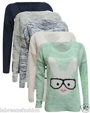Christmas Xmas Ladies Geek Bunny Rabbit Glasses Knitted Heart Jumper Sweater Top