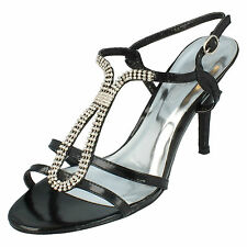 Ladies Spot On Black Open Toe Strappy Sandals with Diamante T-Bar F1690