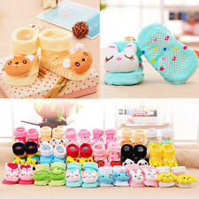0-12M Cute Cartoon Newborn Baby Anti-slip Socks Slipper Boots Animal Boys Girls