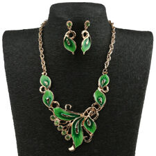 Fashion Enamel Crystal Tulip Statement Necklace Earrings Bride Jewelry Set