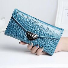 Women Crocodile Synth Leather Long Wallet Card Holders Purse Clutch Handbag Bag