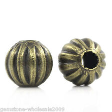 Wholesale Lots Metal Spacer Beads Pumpkin Round Ball Bronze Tone 6mmDia.
