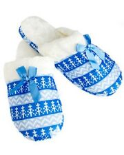 New Women's House Slippers Soft Furry Fuzzy,  Blue/White