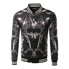 Mens Jackets Print Splice Stand Collar Zipper Tops Casual Baseball Coats Jackets