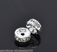 Wholesale Lots Silver Plated Clear Rhinestone Rondelle Spacers Beads 8x3mm