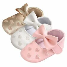 Infant Toddler Girl Crib Shoes Baby Soft Sole Prewalker Sneakers Bowknot 0-18M