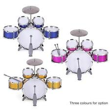 Kids Drum Set Musical Instrument Toy 5 Drums w/Cymbal Stool+Sticks Red W1E0[Red]