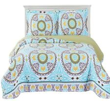 Abripedic Oversize Reversible Nyah Quilt & Shams, Modern Luxury 3PC Coverlet Set