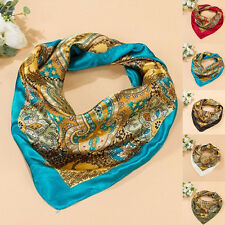 Women Satin Square Large Headband Kerchief Luxury Wrap Bandana 35'' x35'' Scarf